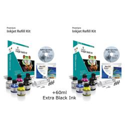 Uni-Kit Inkjet Refill Kit - 4 Color - 2 pack with 60ml Black Bonus