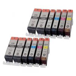 Compatible inkjet cartridges Multipack for Canon CLI-221 / PGI-220 - 12 pack