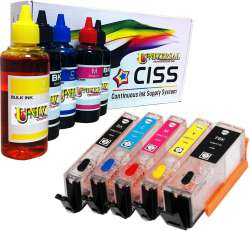 Continuous Ink Cartridge (CIC) Set for Canon PGI-270 / CLI-271 (5 Pack) - with Auto reset Chips and With Ink - 40 to 50 Refills Included