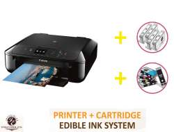 DELUXE PACKAGE 1: INKEDIBLES CANON PIXMA MG6820 BUNDLED PRINTING SYSTEM - INCLUDES BRAND NEW BLACK PRINTER (WITH SCANNER) WITH COMPLETE SET OF EDIBLE INK CARTRIDGES AND CLEANING CARTRIDGES