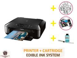 DELUXE PACKAGE 2: INKEDIBLES CANON PIXMA MG6820 BUNDLED PRINTING SYSTEM - INCLUDES BRAND NEW BLACK PRINTER (WITH SCANNER) WITH COMPLETE SET OF EDIBLE INK CARTRIDGES, CLEANING CARTRIDGES AND FLUSH SYSTEM