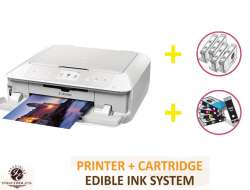 DELUXE PACKAGE 1: INKEDIBLES CANON PIXMA MG7720 BUNDLED PRINTING SYSTEM - INCLUDES BRAND NEW WHITE PRINTER (WITH SCANNER) WITH COMPLETE SET OF EDIBLE INK CARTRIDGES AND CLEANING CARTRIDGES