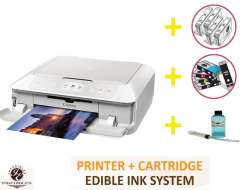 DELUXE PACKAGE 2: INKEDIBLES CANON PIXMA MG7720 BUNDLED PRINTING SYSTEM - INCLUDES BRAND NEW WHITE PRINTER (WITH SCANNER) WITH COMPLETE SET OF EDIBLE INK CARTRIDGES, CLEANING CARTRIDGES AND FLUSH SYSTEM