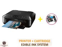 InkEdibles Canon PIXMA TS5020 Bundled Printing System - includes brand new wireless black printer (with scanner) with complete set of 5 refillable edible ink cartridges