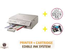 DELUXE PACKAGE 1: INKEDIBLES CANON PIXMA TS5020 BUNDLED PRINTING SYSTEM - INCLUDES BRAND NEW GRAY PRINTER (WITH SCANNER) WITH COMPLETE SET OF EDIBLE INK CARTRIDGES AND CLEANING CARTRIDGES
