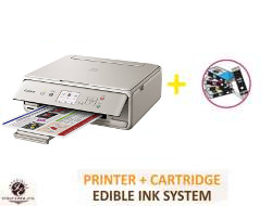 InkEdibles Canon PIXMA TS5020 Bundled Printing System - includes brand new wireless GRAY printer (with scanner) with complete set of 5 refillable edible ink cartridges