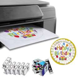 DELUXE PACKAGE 1: INKEDIBLES CANON PIXMA TS6220 / TS8120 / TS8220 / TS8320 / TS9120 / TS9520 BUNDLED PRINTING SYSTEM - INCLUDES BRAND NEW PRINTER (WITH SCANNER) WITH COMPLETE SET OF EDIBLE INK CARTRIDGES AND CLEANING CARTRIDGES