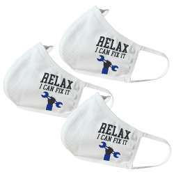 Relax I can Fix It Themed Face Masks - perfect for Father's Day / Dad's Birthday / Dad's Gifts or for self-use (3 Pack)