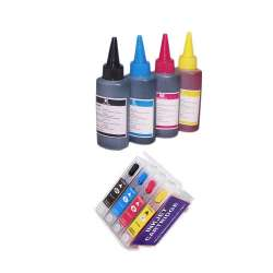 Continuous Ink Cartridge (CIC) Set for Epson T200XL (Bk/CMY) - with Auto reset Chips and With Ink - 33 Refills Included
