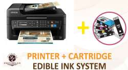 Inkedibles Epson WF-2750 Wireless Bundled Printing System - includes brand new printer with complete set of edible ink cartridges