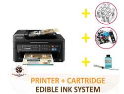 DELUXE PACKAGE 2: INKEDIBLES Epson WorkForce WF-2750 Wireless BUNDLED PRINTING SYSTEM - includes Printer With Complete Set of Edible Ink Cartridges, Cleaning Cartridges and Flush System