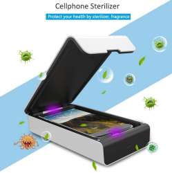 UV Cell Phone Sanitizer / Sterilizer (White), Portable Multi-Function Ultraviolet Smart Phone Disinfection Box - with aroma therapy function included