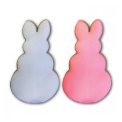 2 Pack Large Easter Bunny Vanilla Sugar Iced YummyCookie - Snow White, Spring Pink