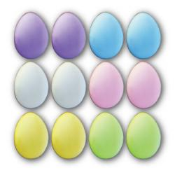 12 Pack Petite Easter Eggs Vanilla Sugar Iced YummyCookie - Lemon Yellow, Spring Pink, Powder Blue, Snow White, Lavender Purple, Lime Green