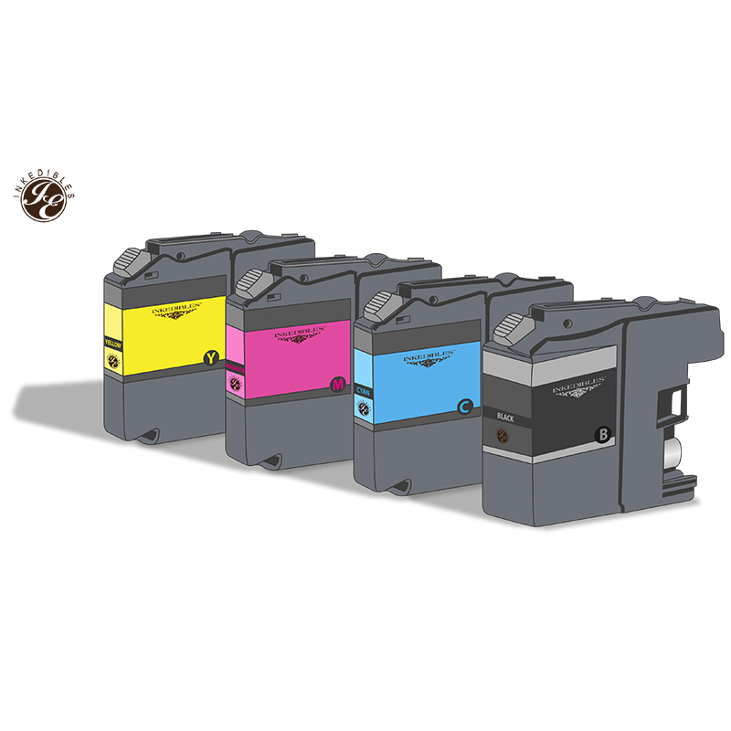 Inkedibles Edible ink Multi-Pack for Brother LC101 / LC103 - 4-pack - black, cyan, magenta, yellow