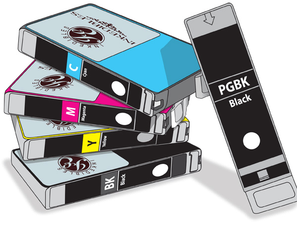 Inkedibles Edible ink Multi-Pack for Canon CLI-226 / PGI-225 - 5-pack - 2-black, cyan, magenta, yellow