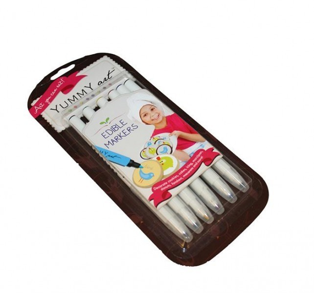 YummyArt Edible Pen Ink Marker (Fine Tip) - 6 pack: 2 Black, Green, Yellow, Blue, Red